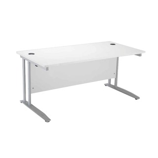 Cantilever 1400mm White Rectangular Desk