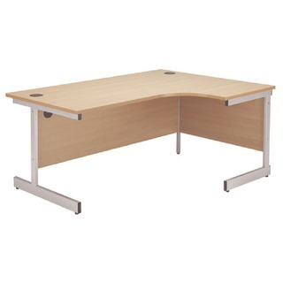 Beech/Silver 1200mm Right Hand Radial Cantilever Desk
