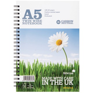 Carbon Neutral A5 Twin Wire Notebook 120 Pages Ruled (5 Pack) R303