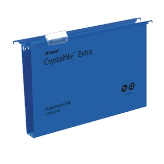 Crystalfile Extra 30mm Suspension File Blue Foolscap (25 Pack)