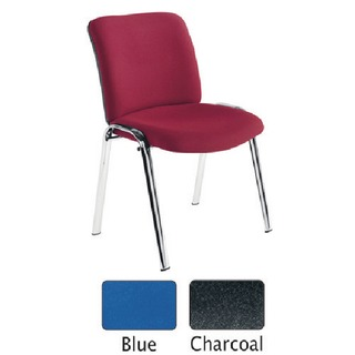 Conference High Back Chrome Chair Blue