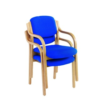 Wood Frame Side Blue Chair With Arms