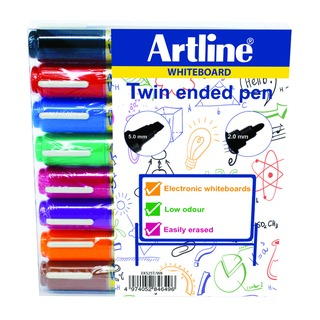 Assorted 2-in-1 Whiteboard Markers Bullet/Chisel Tip (8 Pack) EK525T