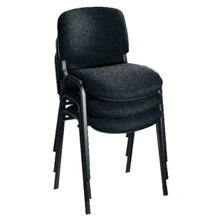Multipurpose Stacking Chair Black Frame Charcoal Upholstery