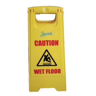 Yellow Folding Safety Sign Caution Wet Floor and Cleaning In Progress 10142