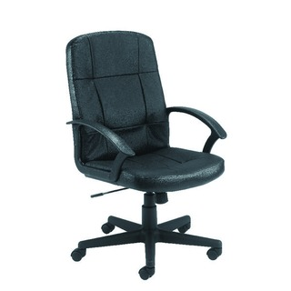 Thames Black Leather Look Executive Chair With Arms