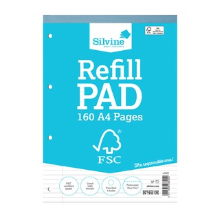 A4 Refill Pad 4 Hole Punched 160 Pages Feint Ruled With Margin (5 Pack) FSCRP8