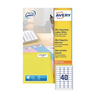 Laser Mini Labels 40x25Sheets White (1000 Pack) L7654-25