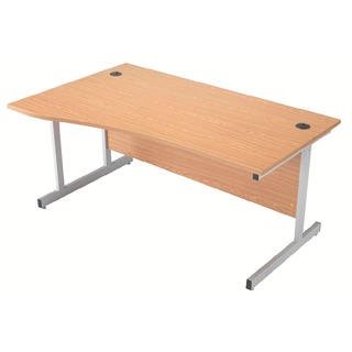 Beech/Silver 1600mm Left Hand Cantilever Wave Desk