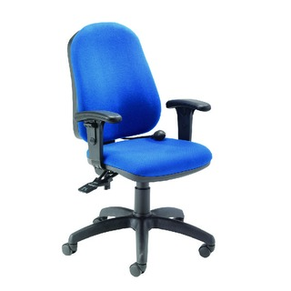R First High Back Posture Chair with Adjustable Arms Blue