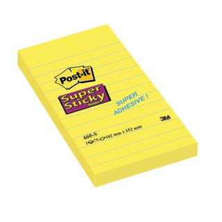 Post-it 152 x 102mm Ruled Feint Yellow Super Sticky Notes (6 Pack) 660S