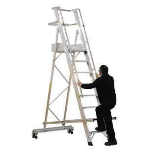 Aluminium 8 Tread Folding Mobile Step Ladder 31603