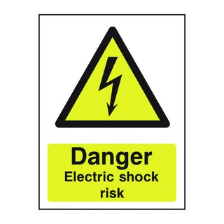 fety Sign Danger Electric Shock Risk A5 PVC HA1075