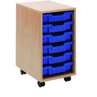 Beech Mobile Storage Unit 6 Blue Trays