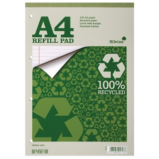 Refill Pad A4 Punched 4 Hole Recycled Ruled Feint and Margin (6 Pack) RE4FM-T