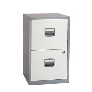 A4 Homefiler 2 Drawer Silver White