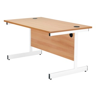 Beech/White 1800mm Rectangular Cantilever Desk
