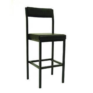 Industry High Stool With Back Black Vinyl