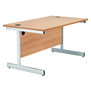 Beech/Silver 1600mm Rectangular Cantilever Desk