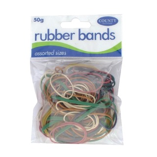 Rubber Bands Coloured 50gm (12 Pack) C22
