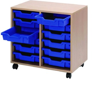 Mobile Beech Storage Unit 12 Blue Trays