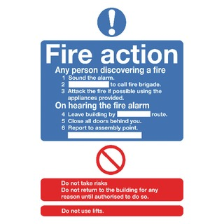fety Sign Fire Action Standard A5 Self-Adhesive FR03