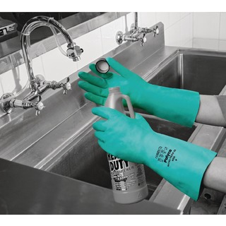 Nitri-Tech III Flock Lined Nitrile Synthetic Rubber Glove Size 9 Green 926