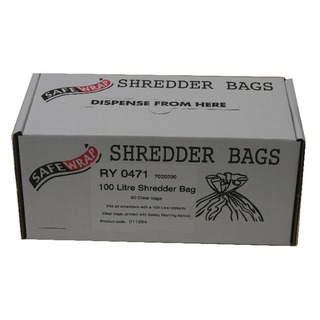 Safewrap 100 Litre Shredder Bags (50 Pack) RY047