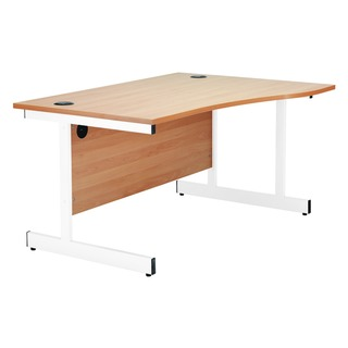 Maple/White 1600mm Left Hand Wave Cantilever Desk