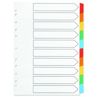 Index A4 Multi-Punched 10-Part Reinforced Multi-Colour Blank Tabs