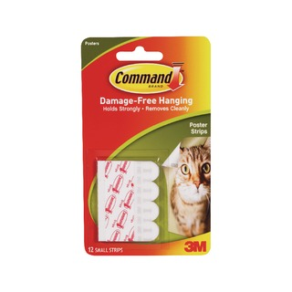 3M Command Adhesive Poster Strips Small (12 Pack) 17024