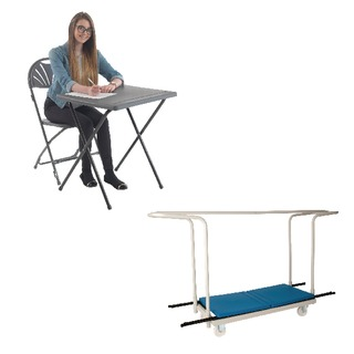PP Exam Desk Blue (40 Pack) and Trolley Promotion