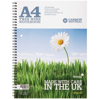 Carbon Neutral A4 Twin Wire Notebook 120 Pages Ruled With Margin (5 Pack) R3