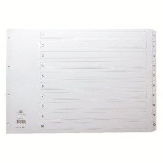 Classic Index A3 1-10 White Board With Clear Mylar Tabs 04601/Cs