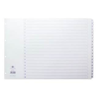 Classic Index A3 1-20 White Board With Clear Mylar Tabs 04801/Cs
