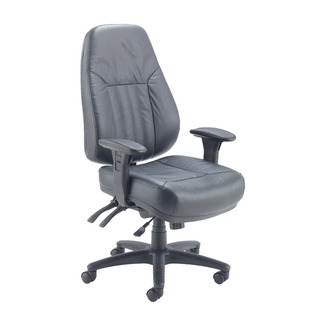sta Lucania Leather Task Black Chair