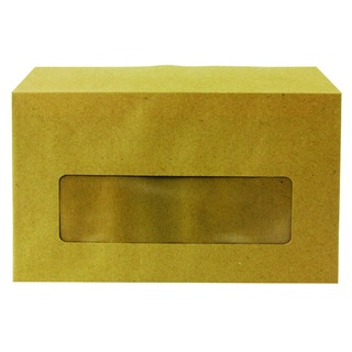 Envelope 89 x 152mm 70gsm Centre Window Gummed Manilla (1000 Pack)