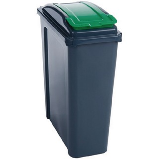 25L Green Recycling Bin With Lid 384284