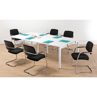 White 2.4M Bench Boardroom Table