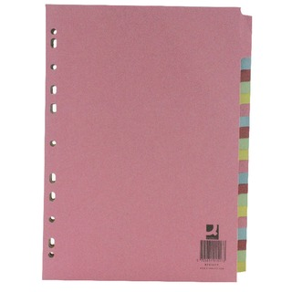 A4 Subject Divider Multi-Punched 20 Part (20 Pack)
