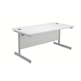 White/Silver 1600mm Cantilever Rectangular Desk
