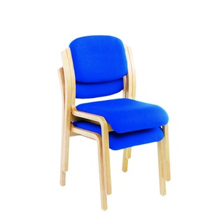 Wood Frame Side Blue Chair No Arms