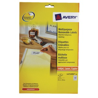 Removable Labels 189 Per Sheet 25.4 x 10mm L4731REV-25