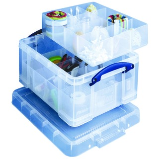 Clear 21 Litre Plastic Divided Storage Box 21C+6T+12T