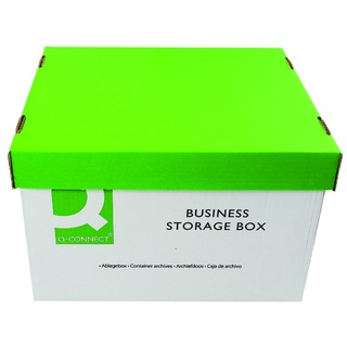Green and White Business Storage Box 335x400x250mm (10 Pack)