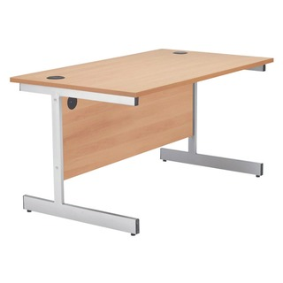 Beech/Silver 1800mm Rectangular Cantilever Desk