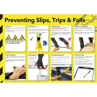 Health and Safety Wallchart - Preventing Slips Trips & Falls FAD