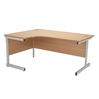 Beech/Silver 1800mm Left Hand Radial Cantilever Desk