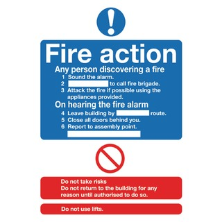 fety Sign Fire Action Standard A5 PVC FR0355