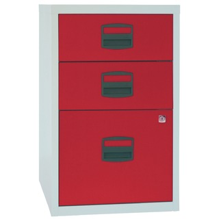 A4 Home Filer 3 Drawer Lockable Grey and Red